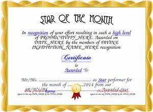 star of the month award images With star of the month certificate template