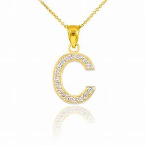 gold letter quotcquot diamond initial pendant necklace With necklace with a letter c