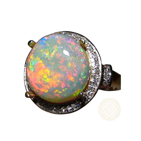 opal gold ring  diamonds halo design flashopal