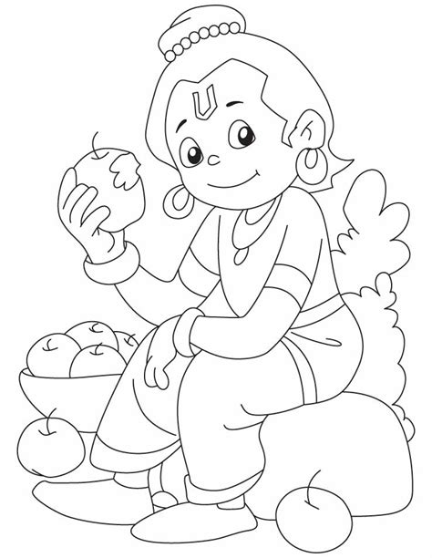 krishna relishing  apple coloring pages