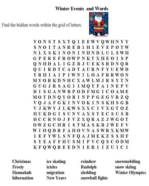 winter word search best coloring pages for kids