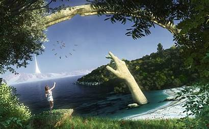 Stone Sand Sea Mountain Fantasy Spire Arch