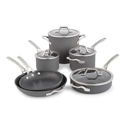 cookware anodized hard nonstick piece calphalon stick non signature sets pieces kitchen stainless steel pans pots end refurbished gray stoves