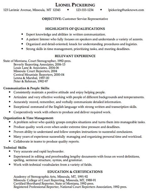 Resume With Customer Service Experience by Best 25 Customer Service Resume Ideas On