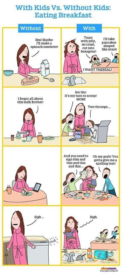 mom funny breakfast humor memes quotes parenting dad mommy vs without morning comic meme nickmom children obnoxious meal true most