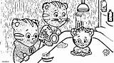 Daniel Tiger Neighborhood Coloring Pages Elaina Miss Dad Prince Friends Birthday Wednesday Cat Owl Brush sketch template
