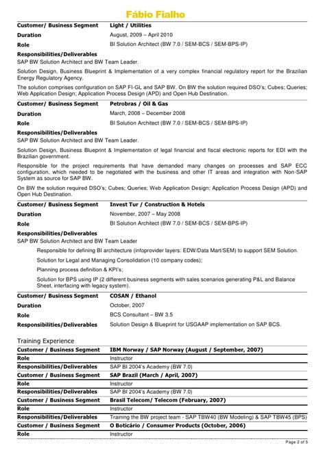 Sap Bw Solution Architect Resume by F 225 Bio Fialho Resume