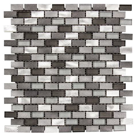 Jeffrey Court Mosaic Tile by Jeffrey Court Stealth 12 In X 12 In X 8 Mm Glass Metal
