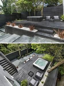 Terrasse Am Haus : terrasse am hang schwarz holz whirlpool zierkies deko haus pinterest terrasse garten und ~ Indierocktalk.com Haus und Dekorationen