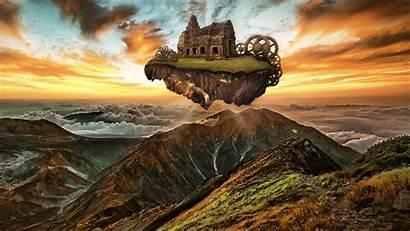 Steampunk Floating Engine Island Mountains Fantasy Mountain