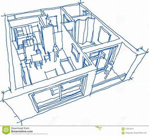 Hand Drawn Sketch Of Apartment Stock Vector