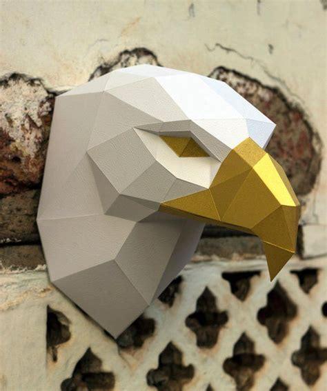 papercraft  eagle head pepakura  template  poly