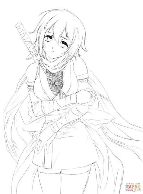 Hurt Anime Girl by Gabriela Gogonea coloring page Free
