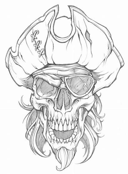 Skull Pirate Tattoo Drawings Vector Cool Stencils