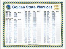 Printable 20172018 Golden State Warriors Schedule