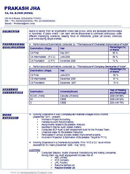 resume sle of a chartered accountant company