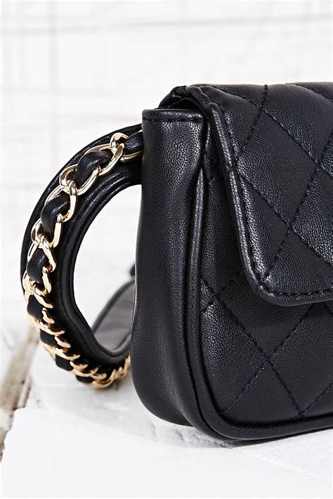 urban outfitters quilted bum bag  black lyst