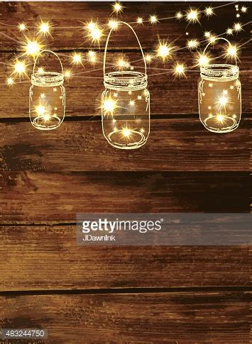 lights wallpaper wooden background with jar and string lights vector String