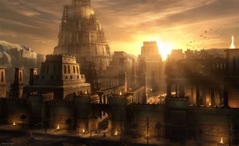 lacoste siege raphael lacoste sunset on babylon cities wallpaper