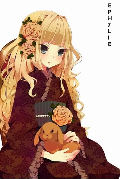 Blonde Lapin Avec Petit Cheveux Kimono Blond