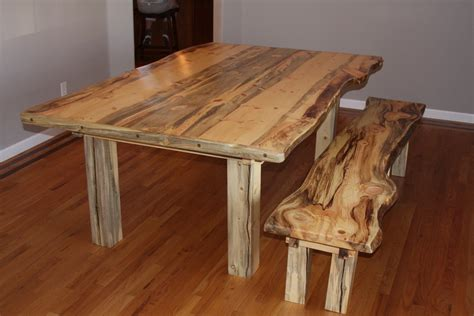 Beetle Kill Pine Dining Room Table And Bench