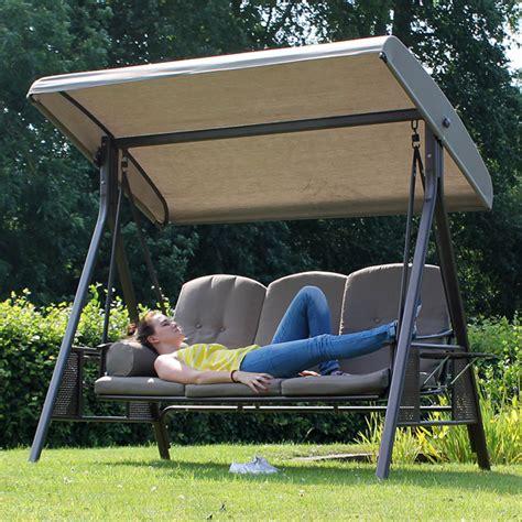 garden swing seat tamarin 3 seater garden swing seat plus canopy luxury
