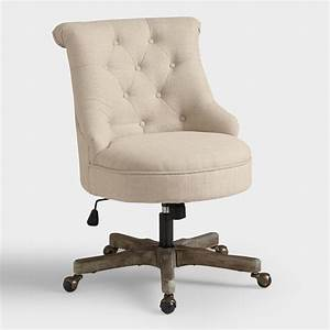 Natural elsie upholstered office chair world market for Office chair upholstery