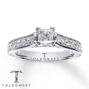 tolkowsky engagement ring tolkowsky diamonds 1 ct tw princess cut 14k white gold ring