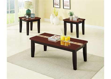 The beautiful faux marble exterior and iron foundation of this living room table is guaranteed to wow visitors and show your style. Brown 3 Piece Faux Marble Top Coffee & End Table Set ROSES Flooring and Furniture