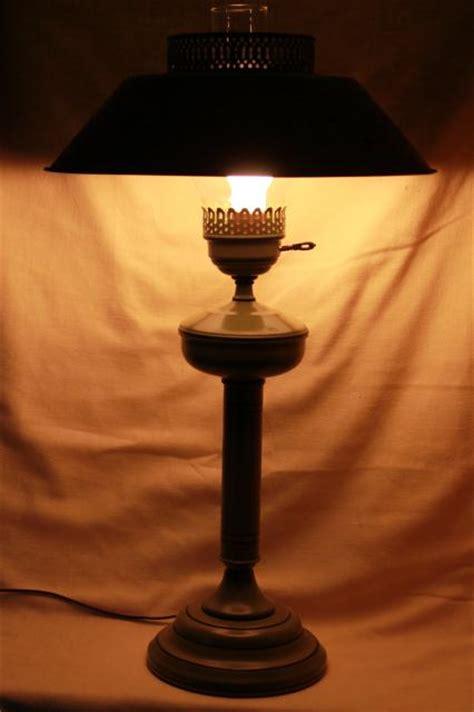 vintage tole table lamp  metal shade olive