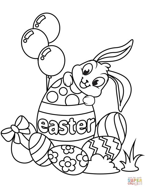 cute easter bunny  eggs coloring page  printable