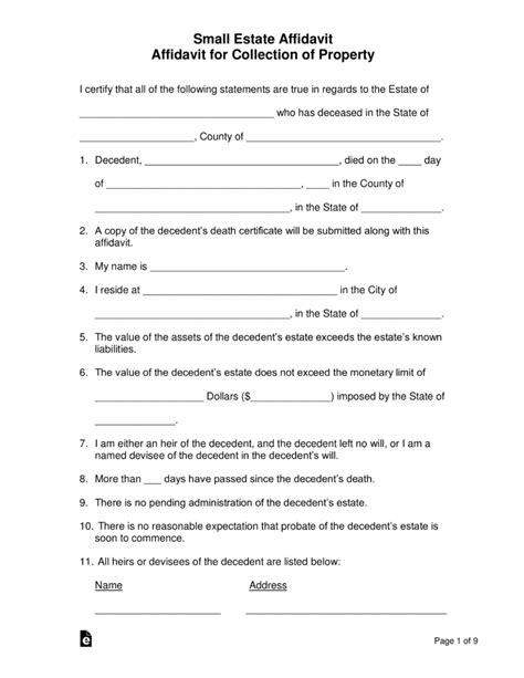 small estate affidavit forms  word eforms