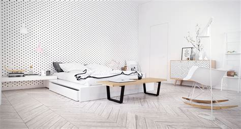 deco chambre style scandinave scandinavian bedroom design dominant with white color