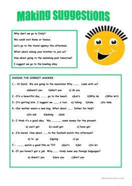 17 free esl suggestions worksheets