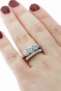 One diamond wedding band 3 engagement rings miadonna for Three stone wedding ring set