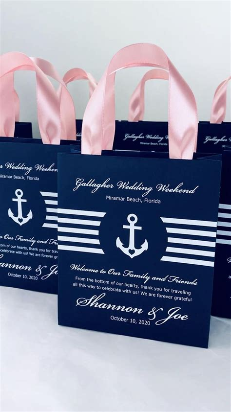 Additional cards with baggage insurance. 25 Navy Blue & Blush Wedding Welcome Bags with satin ...