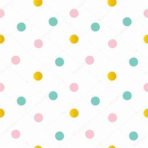Cute pink, mint green and gold dotted seamless pattern ...