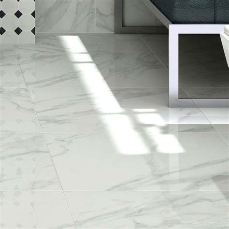 pavia marble effect grey gloss porcelain floor tiles   cm