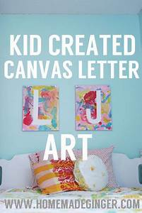 art project kid created canvas letter art canvas With letters to paint over
