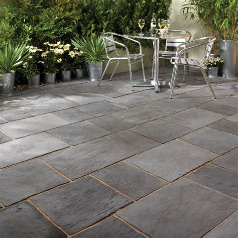 dark grey layered slate effect paving slab  wmm