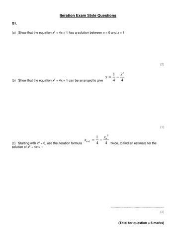 iteration exam style questions  elisabetak teaching