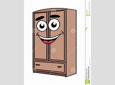 Cartoon Wardrobe Furniture Character Stock Vector
