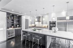 modern white grey kitchen design oakville moderne With kitchen colors with white cabinets with papier peint cuisine moderne