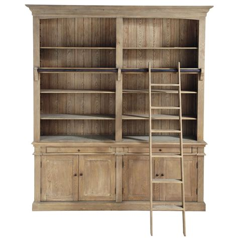 Recycled Wood Bookcase With Ladder W 200cm Aristote