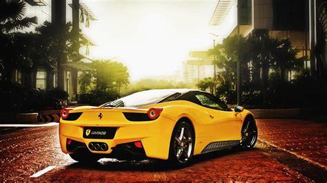 wallpaper ferrari cars  yellow color  hd