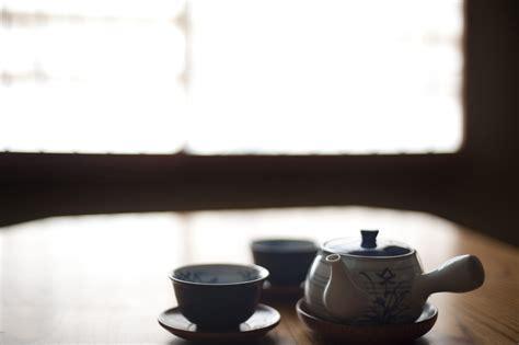 stock photo  japanese tea pot  cups