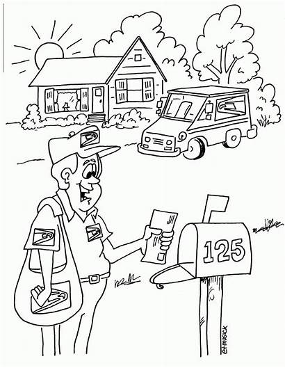 Coloring Office Pages Mail Truck Usps Service