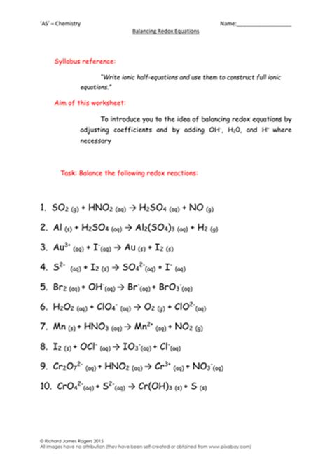 as chemistry balancing redox equations worksheet