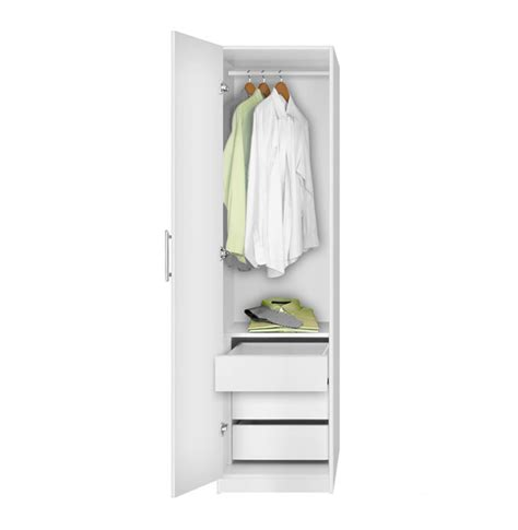 Narrow White Wardrobe With Drawers by Alta Narrow Wardrobe Closet Left Door 3 Interior