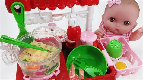 baby doll kitchen cart  noodle cooking toys pororo play